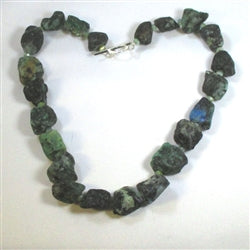 Handcrafted unique green chrysocolla gemstone rough cut nugget statement necklace