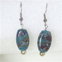 Buy Handmade Turquoise Lampwork Drop Earrings Made in the USA