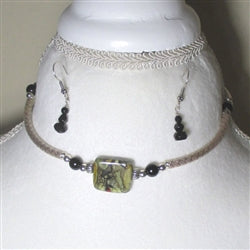 Stunning black handmade artisan bead & silver necklace and earrings