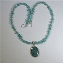Handcrafted Russian Amazonite pendant on Apatite nugget necklace