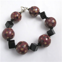 Black and maroon Kazuri Beaded Bracelet