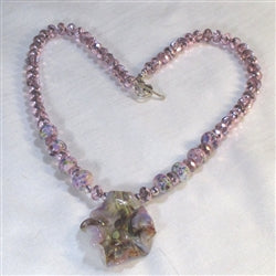 Buy pink crystal necklace with handmade artisan pendant