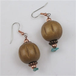 Turquoise Copper & Wood Big Earrings