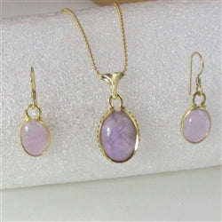 Light amethyst & gold pendant & matching amethyst & gold earrings