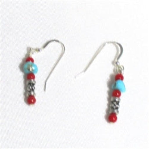 Handcrafted turquoise & coral bead earrings