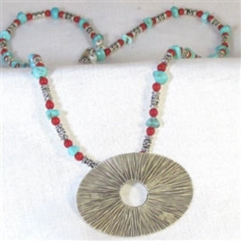 Handcrafted silver turquoise & coral bead necklace with silver pendant