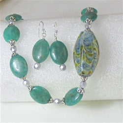 Handmade artisan bead and amazonite asymmetric designer necklace & earrings