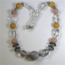 Handcrafted crystal quartz & gemstone necklace unique combo of colors