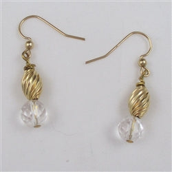 Elegant rock crystal & gold earrings