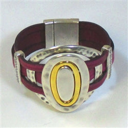 Buy handcrafted fuchsia leather cuff bracelet with silver & gold ring accents