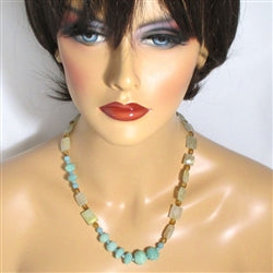 Amazonite & quartz bead necklace