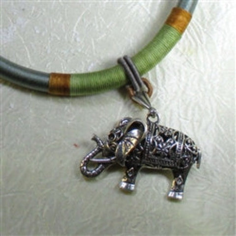Buy fun to wear anitque silver elephant on silk cord necklace