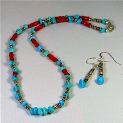 Handcrafted turquoise & coral bead necklace & earring