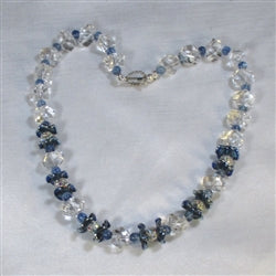 Pretty sparkly rock crystal & blueberry quartz necklace