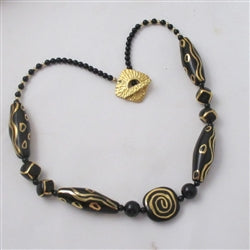 Fair Trade Handmade Kazuri Black Bead Necklace