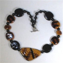 Honey & black fair trade Kazuri bead necklace