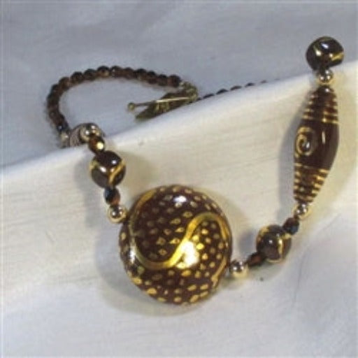 Fair trade bead Kazuri brown necklace