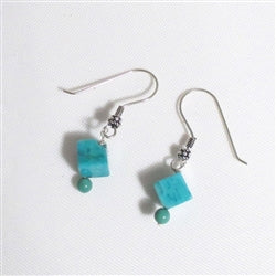 Look & Feel of turquoise in a turquoise howilite cube earrings