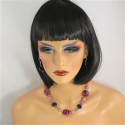 Buy navy & pinkk fair trade Kazuri bead necklace & earrings