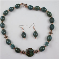 Turquoise & Copper Kazuri Necklace & Earrings