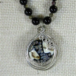Black Onyx Wire Wrapped Pendant Necklace