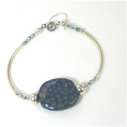 Dark Blue Kazuri Bangle Bracelet for a woman