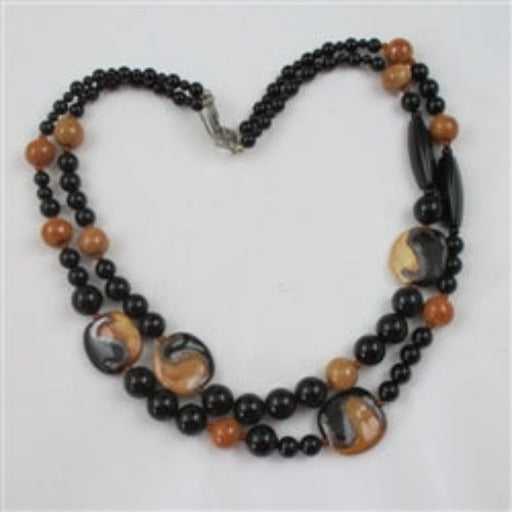 Honey and black fair trade Kazuri bead necklace black onyx beads