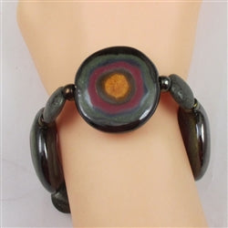 Big bold African inspired black Kazuri bulls eye bead  bracelet