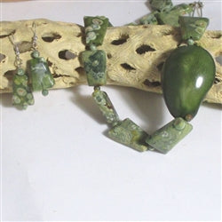 Handcrafted Designer Cut Green Gemstone & Tagua Nut Necklace & Earrings