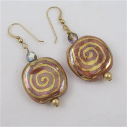 Fair trade Kazuri bead drop earrings