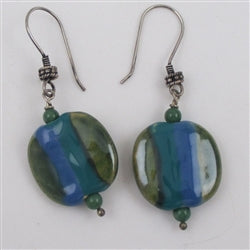 Fair Trade handmade bead Drop Earring Blue