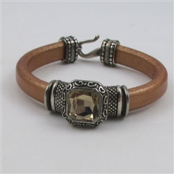 Crystal & tan leather bangle bracelet