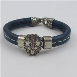 Unisex blue leo the lion head leather bracelet