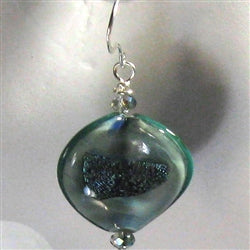 Hand blown aqua boro glass earrings
