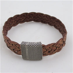 Tan braided leather bracelet for a man