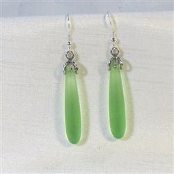 Buy green crystal sea glass teardrop earring on silver ear wires