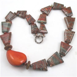 Handcrafted jasper gemstone with eco-friendly tagua nut & copper necklace