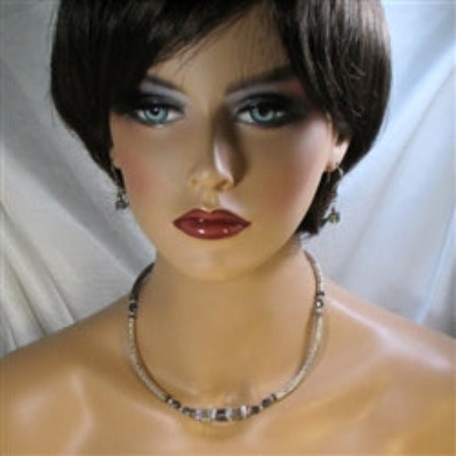 Buy stunning Swarovski crystal cube &  silver necklace and earrings