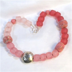 buy shades of pink big nugget and handmade bead necklace
