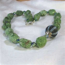Chunky green gemstone chysoprase nugget necklace