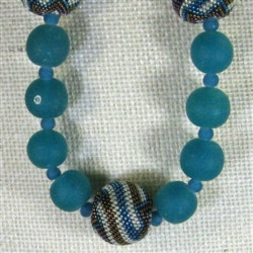 Turquoise glass bead & beaded bead necklace
