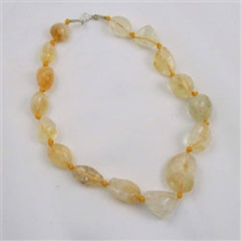 Statement pastel yellow citrine nugget necklace