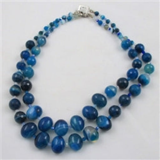 Blue Agate Necklace & Earrings