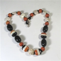 Buy black rust & cream fair trade kazuri necklace