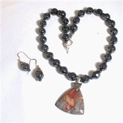 Hematite and jasper pendant necklace