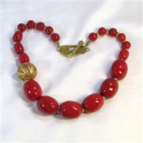 buy handmade lipstick red beaded necklace gold accent