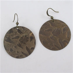 Antique brass coin earrings