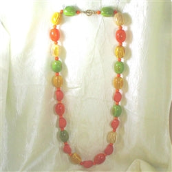 Buy big bold yellow tangerine and lime lucite & resin bead  summer necklace