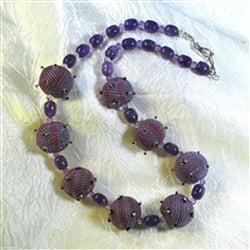 Buy handmade purple beaded bead necklace with amethyst accents
