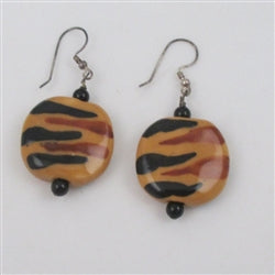 Buy Handmade Kazuri Tiger Earrings
